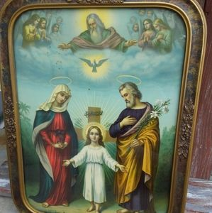 Antique Framed Religious Lithograph Print